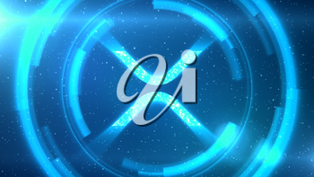 Blue Ripple XRP symbol centered on a starscape background with HUD elements.