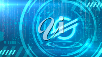 Stellar symbol on a cyan background with HUD elements related to computer technology.