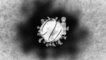 Realistic computer-generated micrograph showing a single coronavirus particle as seen under a transmission electron microscope.