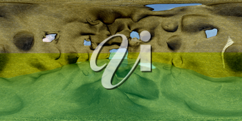 HDRI  map of cave with water. 3d illustration