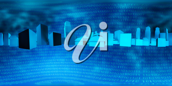 city and binary code on a blue background. HDRI map 3D illustration