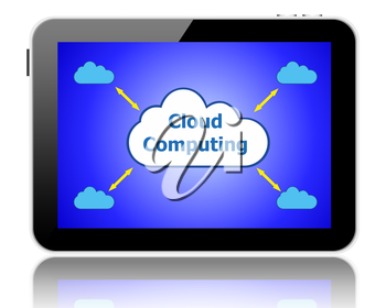 Cloud computing concept on a tablet pc screen