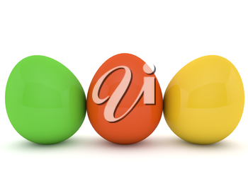 Three Easter eggs on a white background. 3d render illustration.