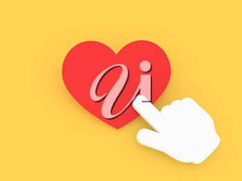 Cursor hand presses the red heart. 3d render illustration.