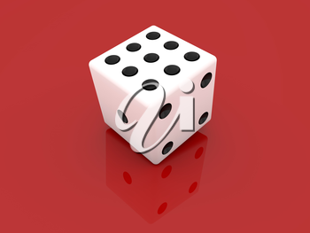 White dice on a red background. 3d render illustration.