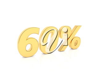60% gold number on a white background. 3d render illustration.