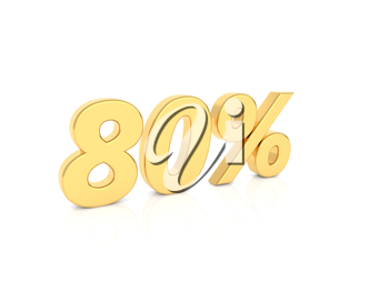 80% gold number on a white background. 3d render illustration.