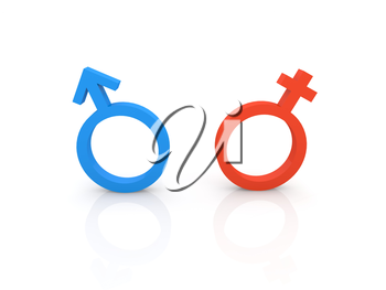 Female and male symbols on a white background. 3d render illustration.