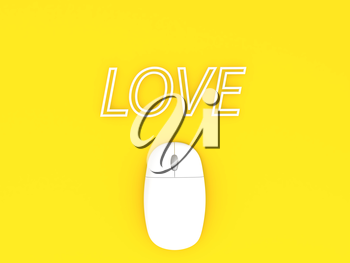 Computer mouse and the inscription LOVE. 3d render illustration.
