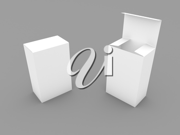 Two cardboard boxes for goods on a gray background. 3d render illustration.