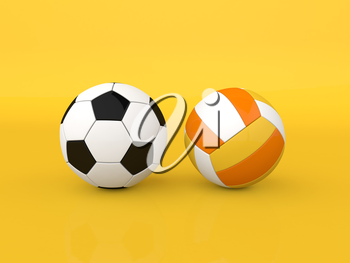 Soccer and volleyball balls on a yellow background. 3d render illustration.