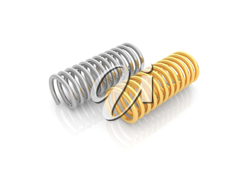 Two iron springs on a white background. 3d render illustration.