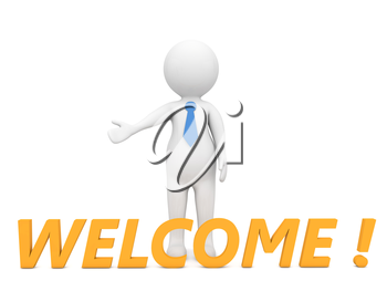 3d character with the word welcome on a white background. 3d render illustration.