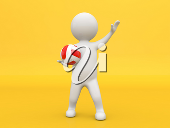 3d character with a volleyball on a yellow background. 3d render illustration.