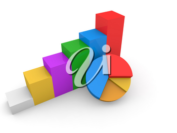 Business profit growth chart on white background. 3d render illustration.