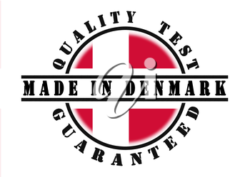 Quality test guaranteed stamp with a national flag inside, Denmark