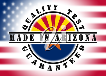 Quality test guaranteed stamp with a state flag inside, Arizona