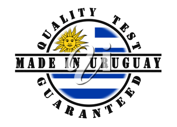 Quality test guaranteed stamp with a national flag inside, Uruguay
