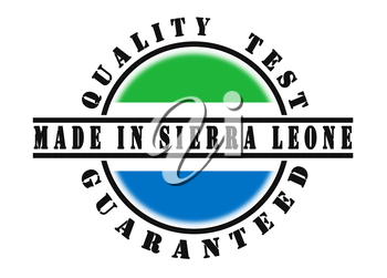 Quality test guaranteed stamp with a national flag inside, SIerra Leone