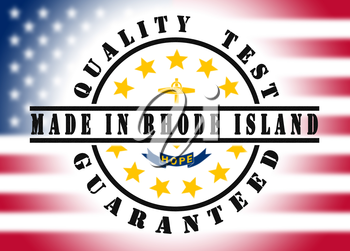 Quality test guaranteed stamp with a state flag inside, Rhode Island