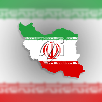 Map of Iran and Iranian flag illustration, isolated