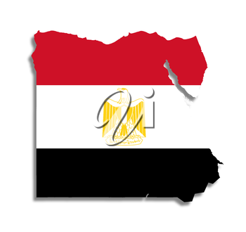 Egyptian map filled with their flag, isolated