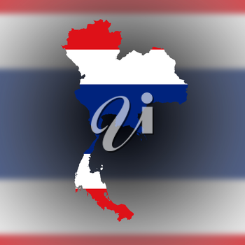Map of Thailand filled with flag, isolated