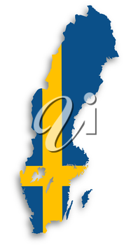 Map of Sweden filled with flag, isolated