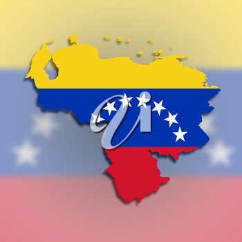Venezuela map with the flag inside, isolated