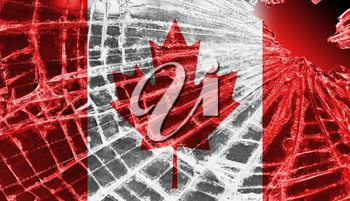 Broken ice or glass with a flag pattern, isolated, Canada