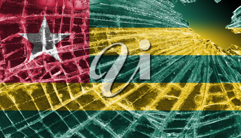 Broken ice or glass with a flag pattern, isolated, Togo