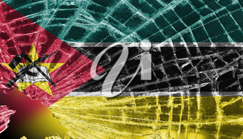 Isolated broken glass or ice with a flag, Mozambique