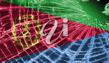Isolated broken glass or ice with a flag, Eritrea