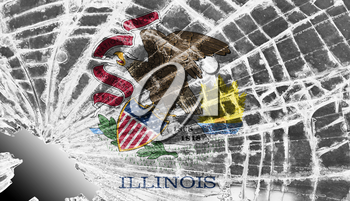 Isolated broken glass or ice with a flag, Illinois