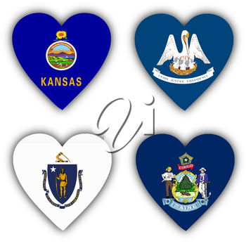 Flags in the shape of a heart, 4 different US states