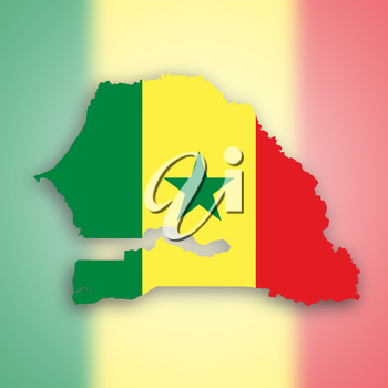 Senegal map with the flag inside, isolated on white