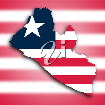 Map of Liberia filled with the national flag