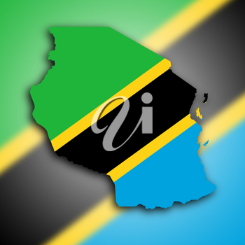 Map of Tanzania filled with the national flag