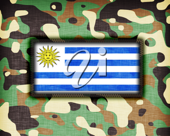 Amy camouflage uniform with flag on it, Uruguay