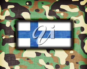 Amy camouflage uniform with flag on it, Finland