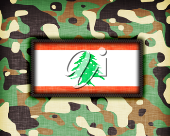 Amy camouflage uniform with flag on it, Lebanon