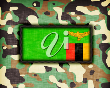 Amy camouflage uniform with flag on it, Zambia