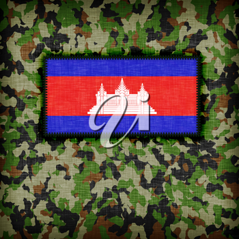 Amy camouflage uniform with flag on it, Cambodia