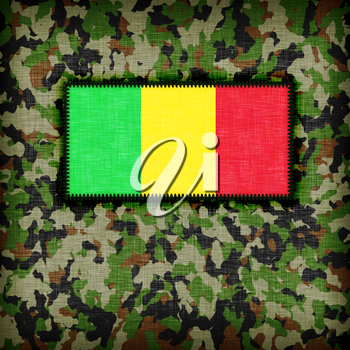 Amy camouflage uniform with flag on it, Mali