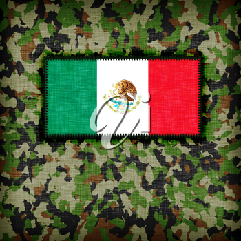 Amy camouflage uniform with flag on it, Mexico