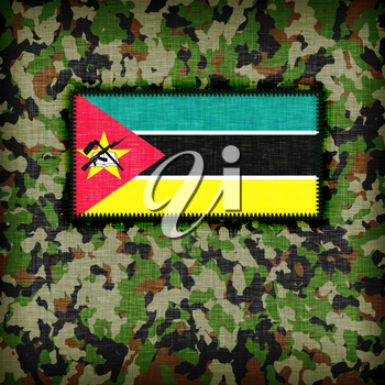 Amy camouflage uniform with flag on it, Mozambique
