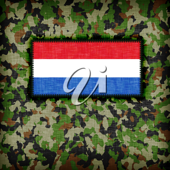 Amy camouflage uniform with flag on it, the Netherlands