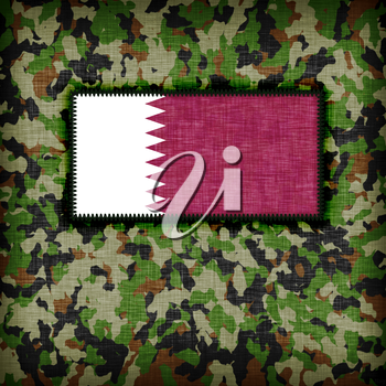 Amy camouflage uniform with flag on it, Qatar