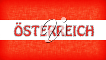 Flag of Austria with letters stiched on it