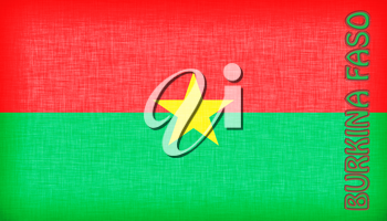Flag of Burkina Faso stitched with letters, isolated
